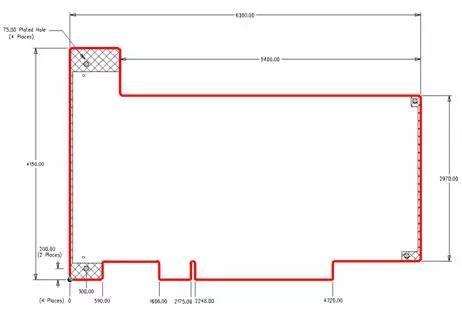 Outline of a common PCI board.